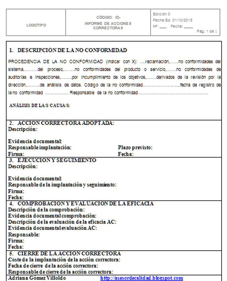 Plan de acción correctiva según ISO 9001:2015 | Contauditorizate